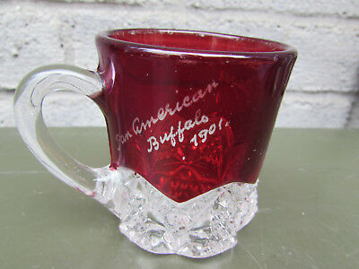 "Pan American Buffalo 1901 Ruby Flash Vintage Souvenir Glass Mug 2 3/4"" High"