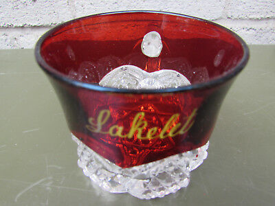 "Lakelet Ontario Canada Ruby Flash Vintage Souvenir Glass Mug 2 1/4"" High"