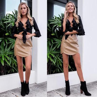 Women Lace Up Deep V-neck Tie Front Flare Long Sleeve Crop Tops Blouse D