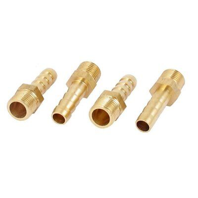 4x Gold 1/8BSP Male Thread Brass Hose Barb Coupler Fitting Connector V2I3