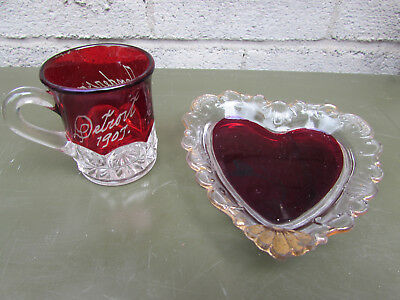 Detroit 1907 Cup & Heart Tray Michigan Ruby Flash Vintage Souvenir Glass