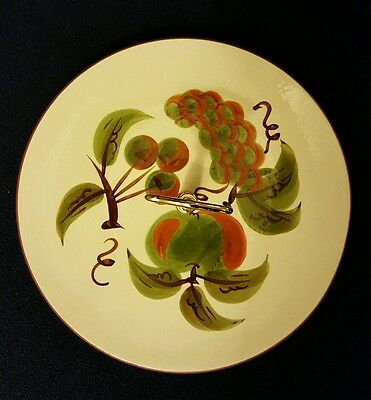 Orchard Song Platter Stangl Pottery Tidbit Tray Brass Handle Serving