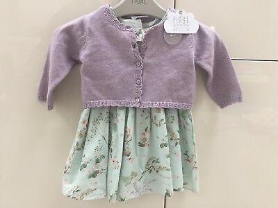 Next Baby Girls 2 Piece Dress And Cardigan Brand New With Tags 3-6 Month RRP £22