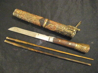 Antique 19th Century Chinese Trousse Set Knife Chopsticks Brass Repousse Case