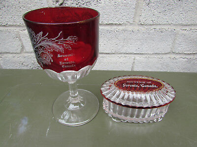 Toronto Canada Ruby Flash Vintage Souvenir Glass Goblet & Lidded Candy Dish 1900