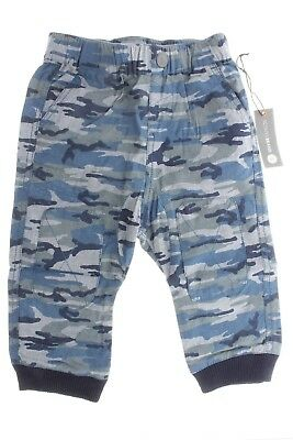 100% Cotton Blue Camouflage Pants Two Front & Back Pockets, Elastic Waistband