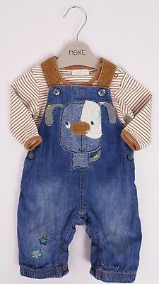 Baby Boys NEXT Applique Puppy Jersey Lined Dungarees & LS Bodysuit 0-3 Mths VGC
