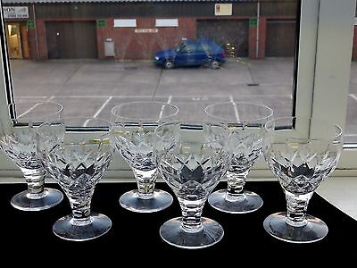 "STUART CRYSTAL""CARLINGFORD"" PATTERN LIQUEUR GLASSES SET OF 6 - SIGNED(1st)"