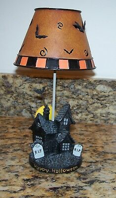 Happy Halloween Tealight Candle Holder Lamp Haunted House, Mansion, Bats, RIP
