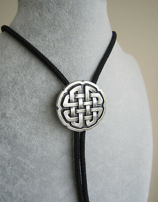 Vintage Black Agate Stone Celtic Bolo Tie With Sky Systems Fiber Rope