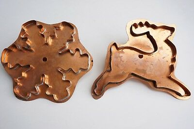 Copper Prancing Reindeer and Snowflake Crystal Cookie Cutters by Martha Stewart
