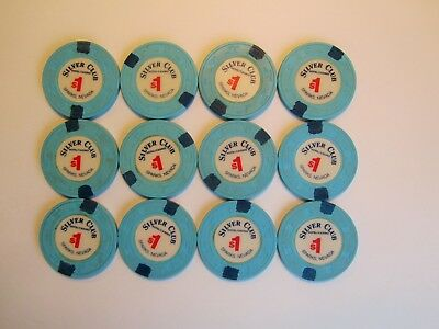 Silver Club CASINO - Sparks, NEVADA -  lot of 12  OBSOLETE  CASINO CHIPS