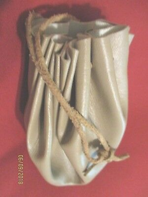 NEW Medieval Handmade Leather Pouch Bag - large, Drawstring Renaissance BEIGE