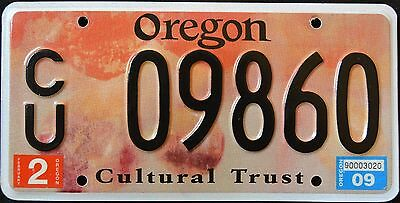 "OREGON "" CULTURAL TRUST "" 2009 OR Specialty Graphic License Plate"