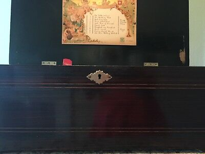 """Antique 1800s WORKING 6"""" Cylinder Rosewood Music Box with 8 Songs Hand Crank"""