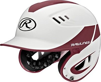 (White Maroon) - Rawlings Sporting Goods Junior Baseball R16 Home Sized Helmet