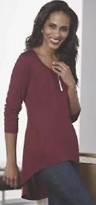 da82d55415459 Midnight Velvet tunic top blouse shirt cranberry burgundy size L 1X NEW PLUS