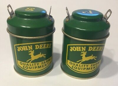 JOHN DEERE Green milk can salt & pepper Shakers set Containers Good Used Tin