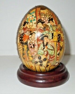 """Gold Porcelain Handpainted Egg with Stand 4"""" x 3"""""""