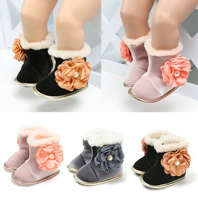 Winter Warm Baby Shoes Boots Girl Boy Snow Booties Antiskid Kids Flat Crib Shoes