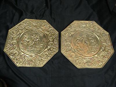 """Vintage / Antique 16.5"""" Hand Hammered Brass Octagonal Wall Hangings, Rustic Look"""