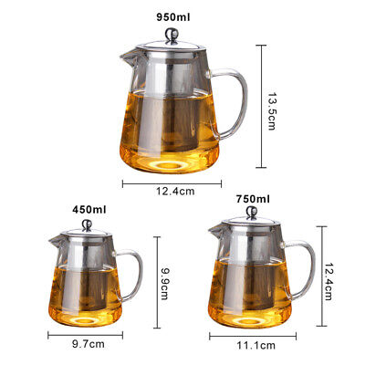 950mL Heat Resistant Glass Bottle Teapot Stainless Steel Infuser Flower Tea Pot