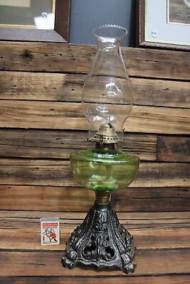 Antique Miller Oil Kerosene lamp Green Glass Bowl Cast Iron Base Chimney