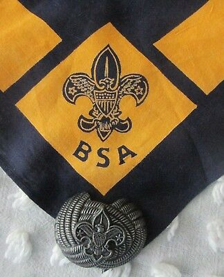 Vintage 50's BSA Boy Scouts Neckerchief - Dark Blue/Yellow & Slide