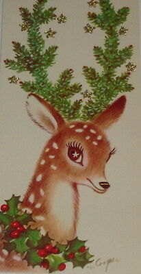 "Vintage 1958 Christmas card, Marjorie Cooper, adorable deer, Rust Craft 7"" used"