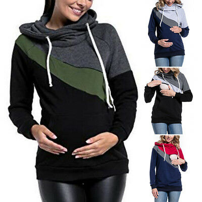 Autumn Nursing Jumper Maternity Clothes Hooded Breastfeeding Hoodie Tops