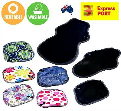 Sanitary Pad Washable Reusable Menstral Black Organic Bamboo Charcoal + Bag FAST