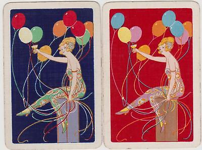 Swap/Playing Cards ~ LADY WITH BALLOONS ~ Vintage Linen Pair