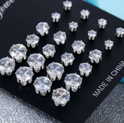 12Pairs/Lot Charming Clear Rhinestone Crystal Ear Stud Fashion Women Earrings