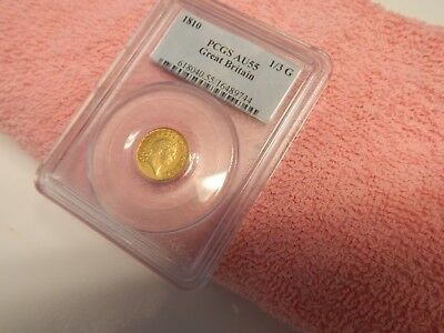 1810 Gold Pcgs Certified Au-55 Great Britain 1/3 Guinea Coin