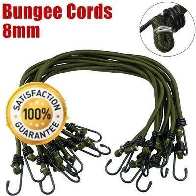 10 pack Heavy Duty Elastic Military Bungee Cords Army Basha Straps Hook Luggage