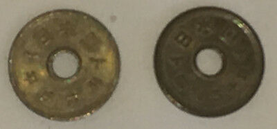 "2 x 5 YEN JAPANESE COINS 1966 ""5"" SAID TO BE LUCKY NUMBER IN JAPAN"