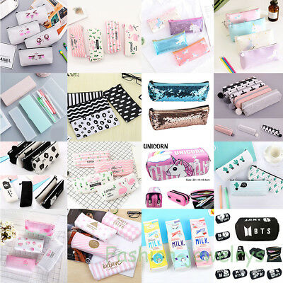 Lots Zipper Pencil Case Pen Storage Box Bag School Stationery Makeup Pouch Gift