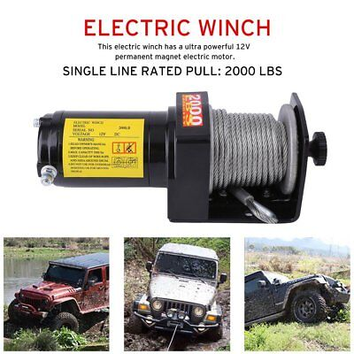 Heavy 12V 2000LB Electric Winch Recovery Rope Trailer Wireless Remote Control