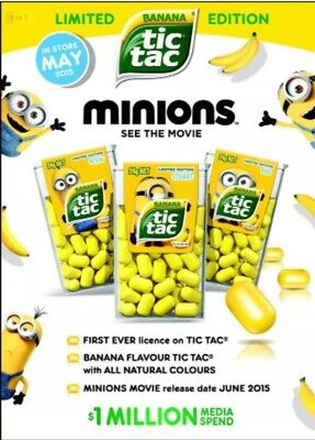 X3 TIC TAC MINIONS YELLOW BANANA.CANDY LOLLY DESPICABLE ME Express Post Tracking