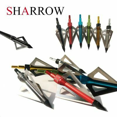 6pcs Archery Broadheads Arrowheads Hunting Tips Blade Points Shooting Target
