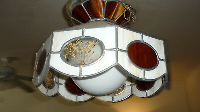 Beautiful Tiffany Style Chandelier Leaded Stained Carmel Slag Glass