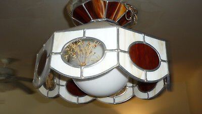 Vintage Tiffany Style Chandelier Leaded Stained Slag Glass Hanging Light Lamp