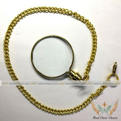 Vintage Antique Solid Brass Pocket Magnifying Glass With Lockable Clip Chain
