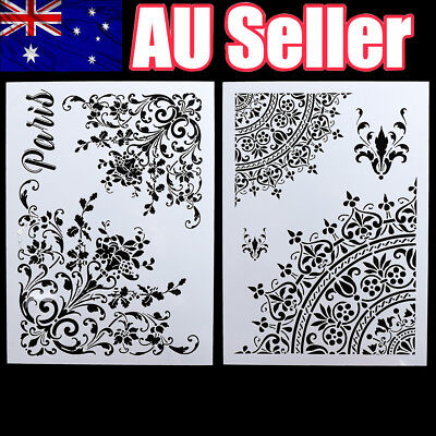 2x DIY Craft Layering Stencils Template For Walls Painting Scrapbooking Stamping