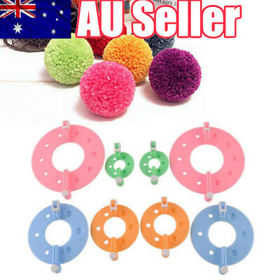 Pompon Set Plastic Pom Pom Maker Clover Fluff Ball Weaver Craft Knitting Needle