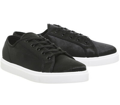 Office Floyd Lace Up Womens Black Satin Trainer Size UK8