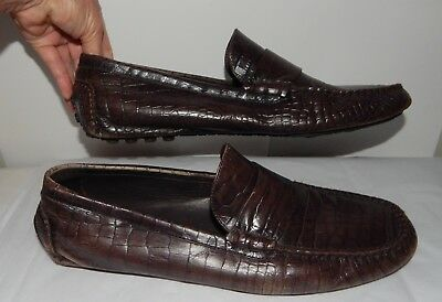 COLE HAAN Brown Leather Snake Skin Impressed  Driving Moc Shoes Mens size 13