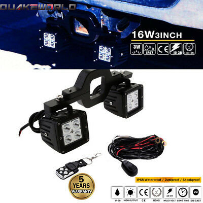 Tow Hitch Bracket Mounting W/ Dual LED Backup Lighting Kit Trailer Jeep FJ GMC
