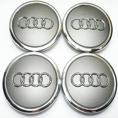 for Audi Wheel Center Cap Car Emblem Badge Logo Cover Hub Grey 69mm 4pcs/set
