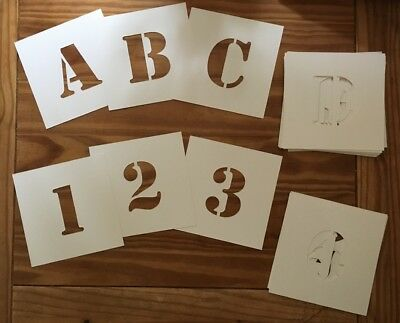 """36 SEPARATE ALPHABET STENCILS Letters & Numbers """"STENCIL"""" font 10cm 400mic board"""